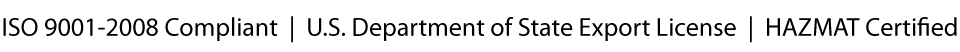 Dela Technology - ISO 9001-2008 Compliant     U.S. Department of State Export License     HAZMAT Certified